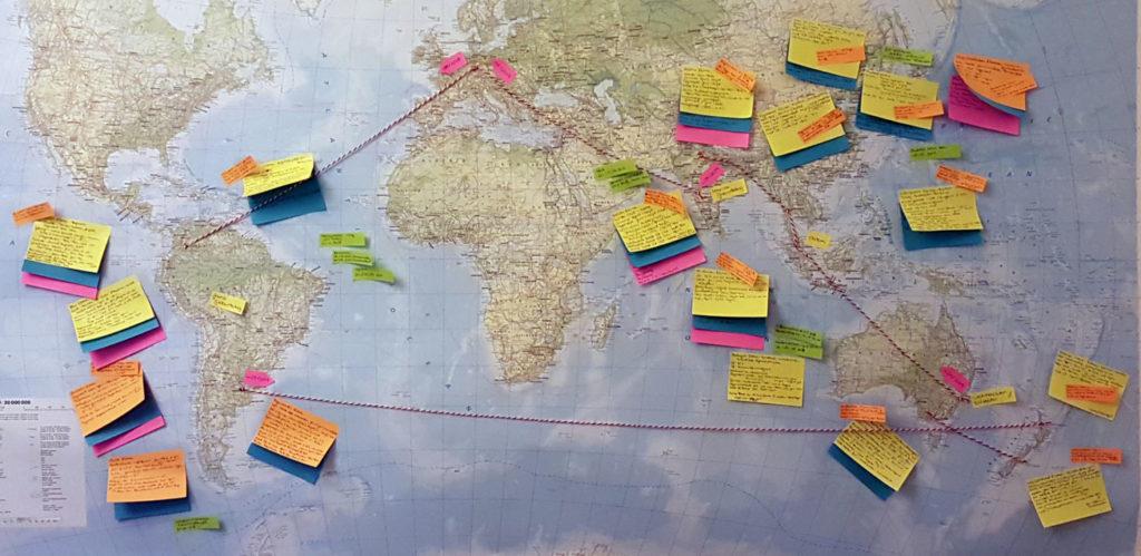Weltkarte mit Planung